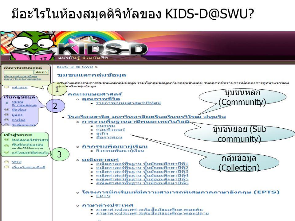ผู้ดูแลชุมชน (Community Admin) ผู้ดูแลชุมชน คือ ผู้ที่ทำหน้าที่ –ปรับแก้ไขข้อมูล ได้แก่ ชื่อชุมชน รายละเอียด โดยสังเขป ข้อความกล่าวนำ (HTML) ข้อความลิขสิทธิ์ ข้อความในแถบด้านข้าง ใบอนุญาต แหล่งที่มา อัพโหลดโลโก้ของกลุ่มข้อมูล –สร้างและแก้ไขกลุ่มข้อมูล (Collection) –สร้างชุมชนย่อย แต่จะไม่มีสิทธิ์ในการกำหนด ผู้ดูแลชุมชนย่อย (Sub Community Admin) ผู้ดูแลกลุ่มข้อมูล (Collection Admin) และผู้ส่งผลงาน (Collection Submit) ของกลุ่มข้อมูลนั้น ต้องให้ ผู้ดูแลระบบ (System Admin) เป็น ผู้จัดการ ในกรณีที่ผู้ดูแลชุมชนย่อย สร้างชุมชนย่อยภายในชุมชนย่อยอีก จะยังไม่มี สิทธิ์ในการเพิ่มกลุ่มข้อมูล จะต้องแจ้งให้ผู้ดูแลระบบ เป็นผู้ให้สิทธิ์ดังกล่าว KIDS-D@SWU สำหนักคอมพิวเตอร์ มหาวิทยาลัยศรีนครินทรวิโรฒ