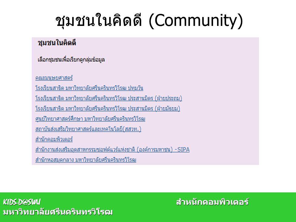 ผู้ดูแลชุมชนย่อย (Sub Community Admin) ผู้ดูแลชุมชนย่อย คือ ผู้ที่ทำหน้าที่ดังนี้ –ปรับแก้ไขชุมชนย่อยนั้น –ได้รับสิทธิ์ในการสร้าง/แก้ไขกลุ่มข้อมูล –ได้รับสิทธิ์ในการสร้างชุมชนย่อยภายใน –แต่จะไม่มีสิทธิ์ในการกำหนด ผู้ดูแลกลุ่มข้อมูล (Collection Admin) และผู้ส่งผล งาน (Collection Submitter) ของกลุ่มข้อมูลนั้น ต้องให้ ผู้ดูแลระบบ (System Admin) เป็นผู้ดำเนินการ –ในกรณีที่ผู้ดูแลชุมชนย่อย สร้างชุมชนย่อยภายในชุมชนย่อยอีก จะยังไม่มีสิทธิ์ ในการเพิ่มกลุ่มข้อมูล จะต้องแจ้งให้ผู้ดูแลระบบ (System Admin) เป็นผู้ให้สิทธิ์ ดังกล่าว KIDS-D@SWU สำหนักคอมพิวเตอร์ มหาวิทยาลัยศรีนครินทรวิโรฒ