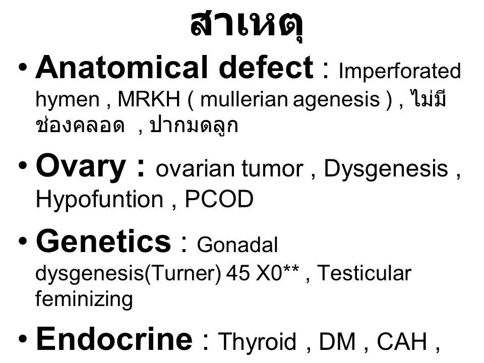 สาเหตุ Anatomical defect : Imperforated hymen, MRKH ( mullerian agenesis ), ไม่มี ช่องคลอด, ปากมดลูก Ovary : ovarian tumor, Dysgenesis, Hypofuntion, P