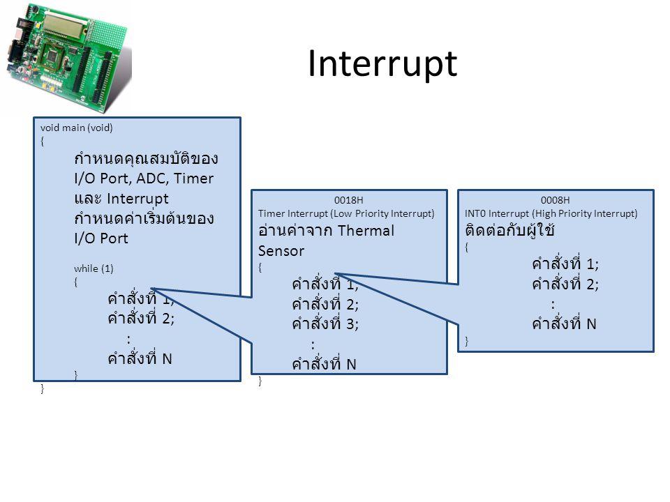 Interrupt void main (void) { กำหนดคุณสมบัติของ I/O Port, ADC, Timer และ Interrupt กำหนดค่าเริ่มต้นของ I/O Port while (1) { คำสั่งที่ 1; คำสั่งที่ 2; :