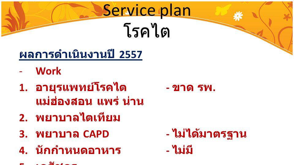 Service plan โรคไต ผลการดำเนินงานปี 2557 -Work 1. อายุรแพทย์โรคไต - ขาด รพ. แม่ฮ่องสอน แพร่ น่าน 2. พยาบาลไตเทียม 3. พยาบาล CAPD- ไม่ได้มาตรฐาน 4. นัก