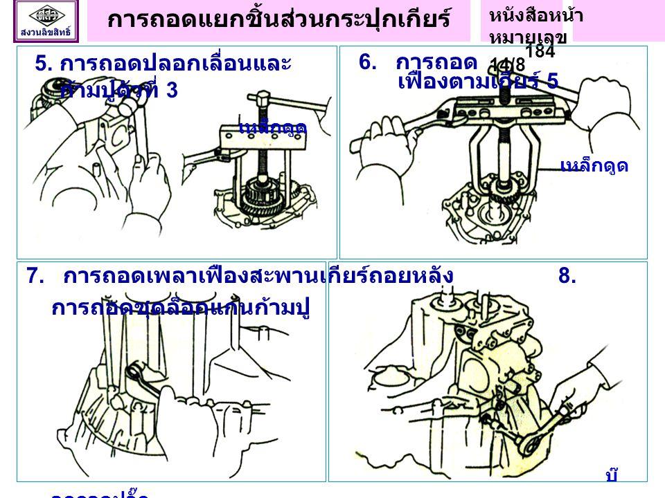 1. การถอดชิ้นส่วน นอกกระปุกเกียร์ น็อตผ่า 2. การวัดระยะรุนเฟือง เกียร์ 5 3. การถอดกระเดื่องล็อกตำแหน่งเกียร์ 4. การ ถอดน็อตล็อก งานถอดแยกชิ้นส่วนกระปุ