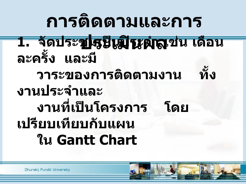 1. จัดประชุมเป็นประจำ เช่น เดือน ละครั้ง และมี วาระของการติดตามงาน ทั้ง งานประจำและ งานที่เป็นโครงการ โดย เปรียบเทียบกับแผน ใน Gantt Chart การติดตามแล