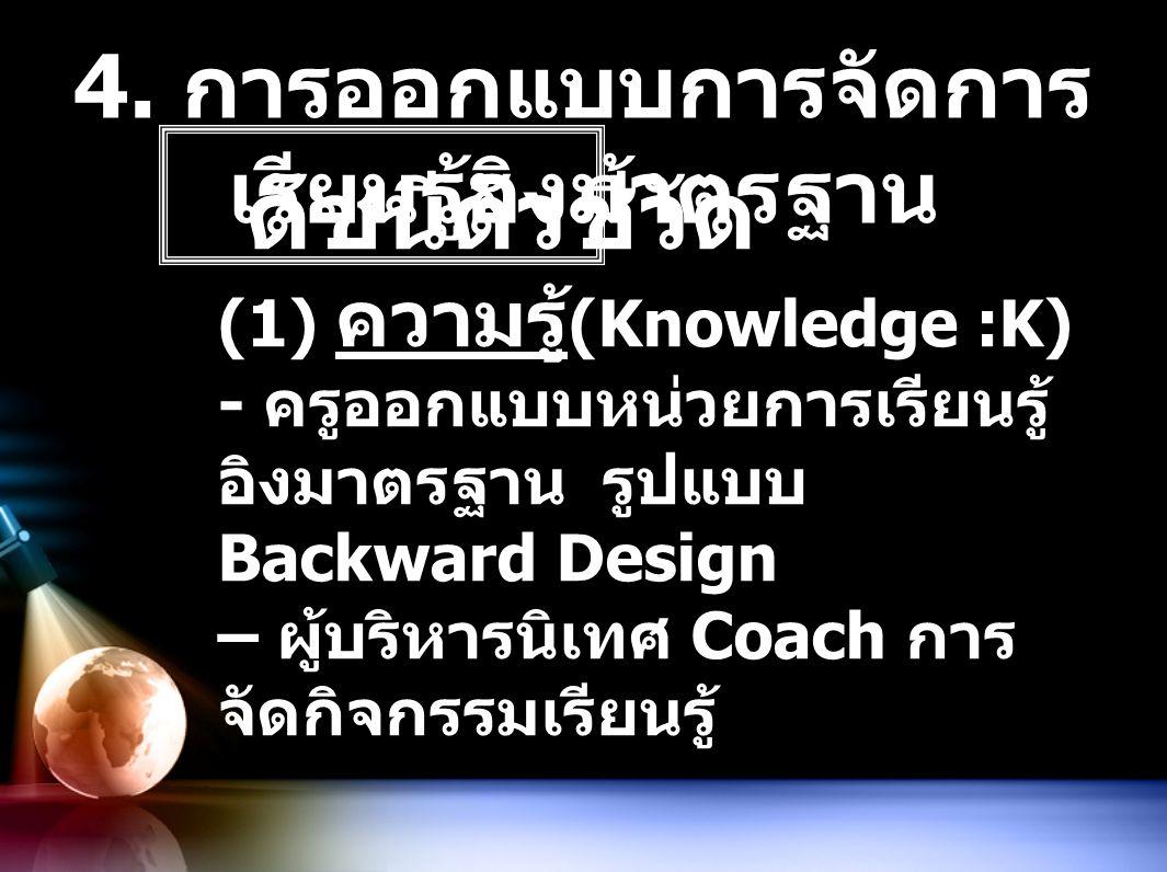 4. การออกแบบการจัดการ เรียนรู้อิงมาตรฐาน ดัชนีตัวชี้วัด (1) ความรู้ (Knowledge :K) - ครูออกแบบหน่วยการเรียนรู้ อิงมาตรฐาน รูปแบบ Backward Design – ผู้