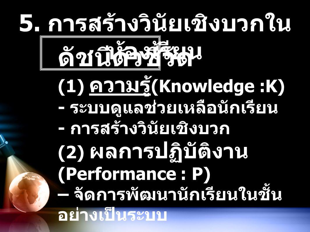 5. การสร้างวินัยเชิงบวกใน ห้องเรียน ดัชนีตัวชี้วัด (1) ความรู้ (Knowledge :K) - ระบบดูแลช่วยเหลือนักเรียน - การสร้างวินัยเชิงบวก (2) ผลการปฏิบัติงาน (
