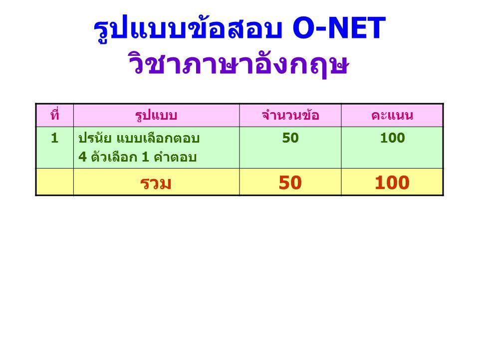 รูปแบบข้อสอบ O-NET วิชาภาษาอังกฤษ ที่รูปแบบจำนวนข้อคะแนน 1ปรนัย แบบเลือกตอบ 4 ตัวเลือก 1 คำตอบ 50100 รวม50100