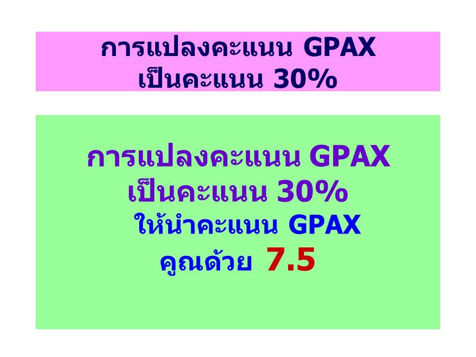การแปลงคะแนน GPAX เป็นคะแนน 30% การแปลงคะแนน GPAX เป็นคะแนน 30% ให้นำคะแนน GPAX คูณด้วย 7.5