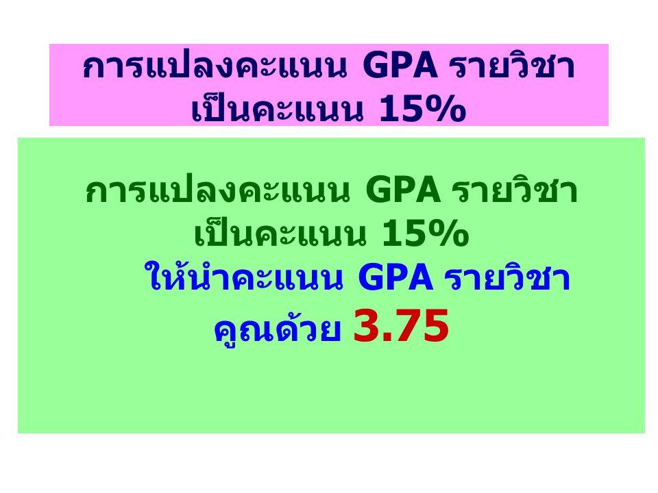 การแปลงคะแนน GPA รายวิชา เป็นคะแนน 15% การแปลงคะแนน GPA รายวิชา เป็นคะแนน 15% ให้นำคะแนน GPA รายวิชา คูณด้วย 3.75