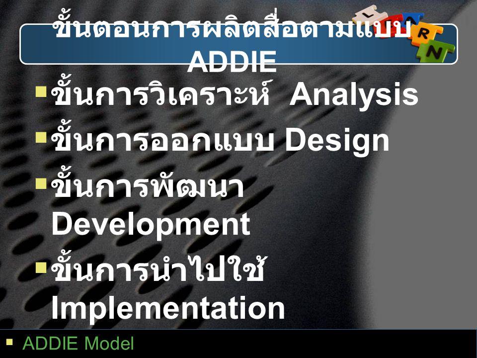 ขั้นตอนการผลิตสื่อตามแบบ ADDIE  ขั้นการวิเคราะห์ Analysis  ขั้นการออกแบบ Design  ขั้นการพัฒนา Development  ขั้นการนำไปใช้ Implementation  ขั้นการ