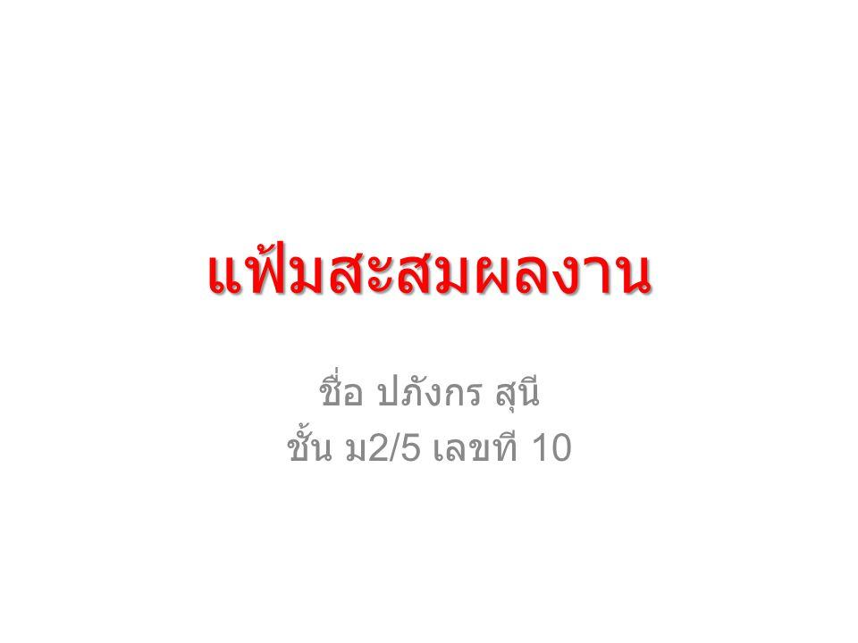 แฟ้มสะสมผลงาน ชื่อ ปภังกร สุนี ชั้น ม 2/5 เลขที 10