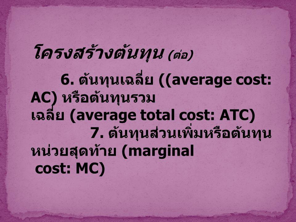 โครงสร้างต้นทุน ( ต่อ ) 6. ต้นทุนเฉลี่ย ((average cost: AC) หรือต้นทุนรวม เฉลี่ย (average total cost: ATC) 7. ต้นทุนส่วนเพิ่มหรือต้นทุน หน่วยสุดท้าย (