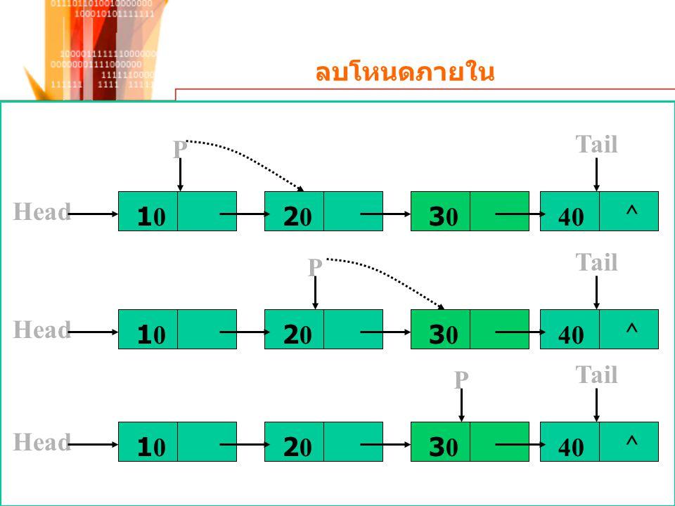ลบโหนดภายใน Head 10102020303040 ^ Tail P 1010 Head 2020303040 ^ Tail P 1010 Head 2020303040 ^ Tail P