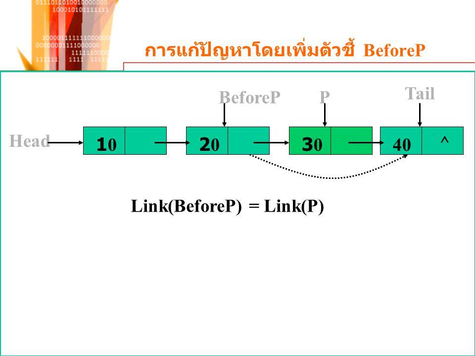 การแก้ปัญหาโดยเพิ่มตัวชี้ BeforeP Link(BeforeP) = Link(P) 1010 Head 2020303040 ^ Tail PBeforeP
