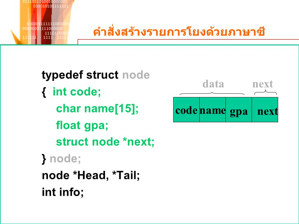 คำสั่งสร้างรายการโยงด้วยภาษาซี typedef struct node { int code; char name[15]; float gpa; struct node *next; } node; node *Head, *Tail; int info; next