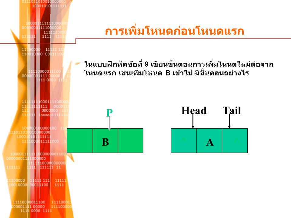 การเพิ่มโหนดก่อนโหนดแรก ในแบบฝึกหัดข้อที่ 9 เขียนขั้นตอนการเพิ่มโหนดใหม่ต่อจาก โหนดแรก เช่นเพิ่มโหนด B เข้าไป มีขั้นตอนอย่างไร ^ A^ HeadTail B P