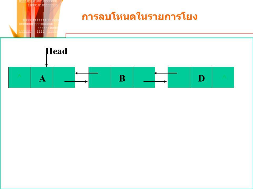 การลบโหนดในรายการโยง ^ AB D^ Head