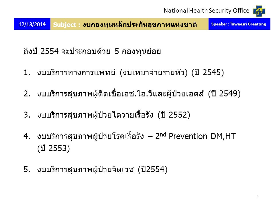 Subject : งบกองทุนหลักประกันสุขภาพแห่งชาติ ถึงปี 2554 จะประกอบด้วย 5 กองทุนย่อย 1.งบบริการทางการแพทย์ (งบเหมาจ่ายรายหัว) (ปี 2545) 2.งบบริการสุขภาพผู้ติดเชื้อเอช.ไอ.วีและผู้ป่วยเอดส์ (ปี 2549) 3.งบบริการสุขภาพผู้ป่วยไตวายเรื้อรัง (ปี 2552) 4.งบบริการสุขภาพผู้ป่วยโรคเรื้อรัง – 2 nd Prevention DM,HT (ปี 2553) 5.งบบริการสุขภาพผู้ป่วยจิตเวช (ปี2554) 12/13/2014 Speaker : Taweesri Greetong 2