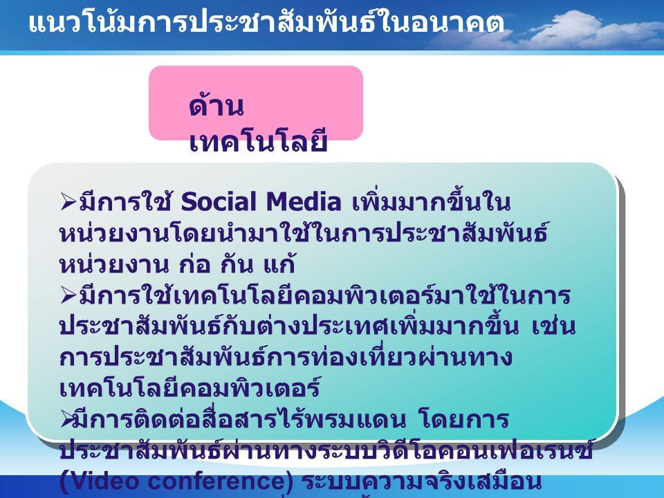 ด้าน เทคโนโลยี  มีการใช้ Social Media เพิ่มมากขึ้นใน หน่วยงานโดยนำมาใช้ในการประชาสัมพันธ์ หน่วยงาน ก่อ กัน แก้  มีการใช้เทคโนโลยีคอมพิวเตอร์มาใช้ในก