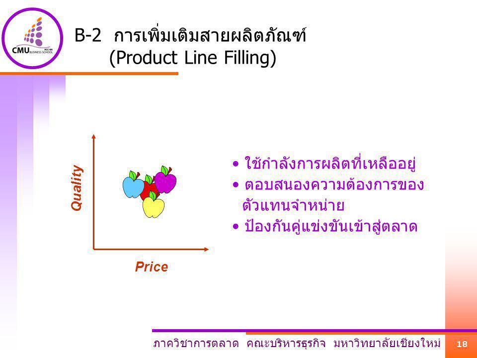 ภาควิชาการตลาด คณะบริหารธุรกิจ มหาวิทยาลัยเชียงใหม่ 18 B-2 การเพิ่มเติมสายผลิตภัณฑ์ (Product Line Filling) Price Quality ใช้กำลังการผลิตที่เหลืออยู่ ต