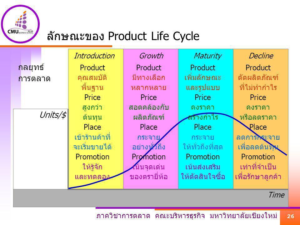 ภาควิชาการตลาด คณะบริหารธุรกิจ มหาวิทยาลัยเชียงใหม่ 26 DeclineMaturityGrowthIntroduction Units/$ Time ลักษณะของ Product Life Cycle กลยุทธ์ การตลาด Pro