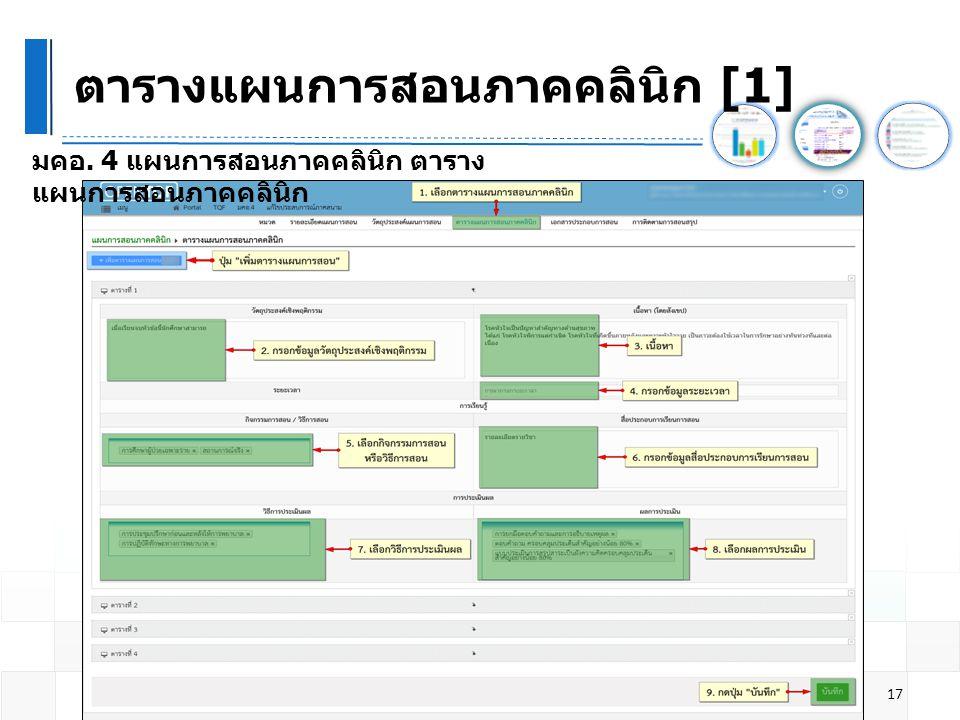 ตารางแผนการสอนภาคคลินิก [1] 17 มคอ. 4 แผนการสอนภาคคลินิก ตาราง แผนการสอนภาคคลินิก