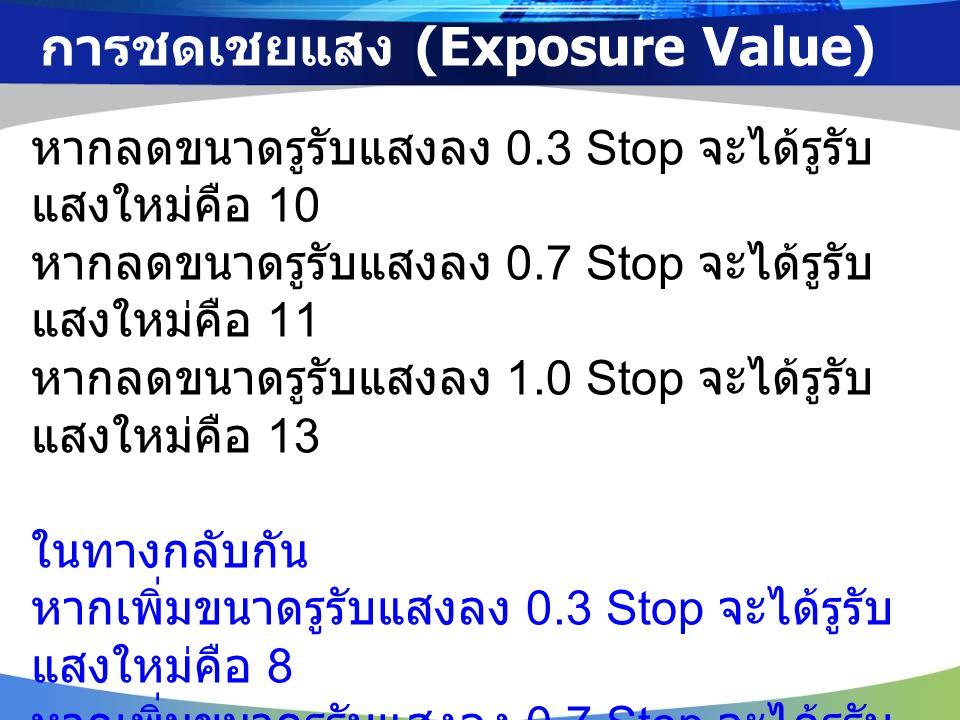 การชดเชยแสง (Exposure Value) หากลดขนาดรูรับแสงลง 0.3 Stop จะได้รูรับ แสงใหม่คือ 10 หากลดขนาดรูรับแสงลง 0.7 Stop จะได้รูรับ แสงใหม่คือ 11 หากลดขนาดรูรับแสงลง 1.0 Stop จะได้รูรับ แสงใหม่คือ 13 ในทางกลับกัน หากเพิ่มขนาดรูรับแสงลง 0.3 Stop จะได้รูรับ แสงใหม่คือ 8 หากเพิ่มขนาดรูรับแสงลง 0.7 Stop จะได้รูรับ แสงใหม่คือ 7.1 หากเพิ่มขนาดรูรับแสงลง 1.0 Stop จะได้รูรับ แสงใหม่คือ 6.3
