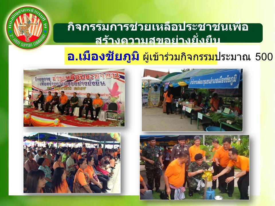 กิจกรรมการช่วยเหลือประชาชนเพื่อ สร้างความสุขอย่างยั่งยืน อ. เมืองชัยภูมิ ผู้เข้าร่วมกิจกรรมประมาณ 500 คน