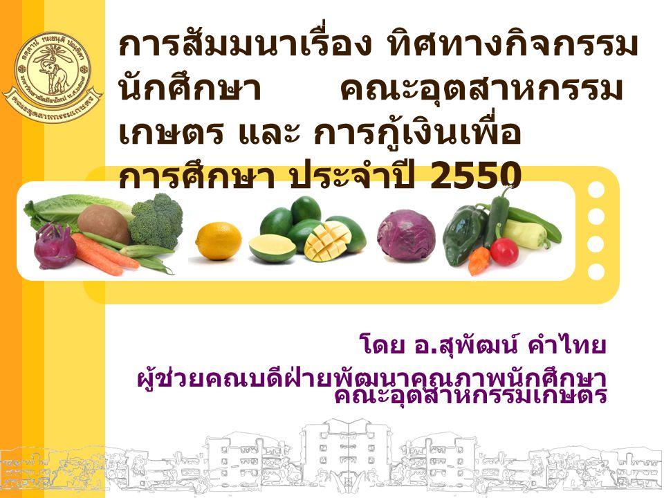 คณะอุตสาหกรรมเกษตร มหาวิทยาลัยเชียงใหม่ กิจกรรมของ นักศึกษาใหม่ อุตสาหกรรมเกษตร ปี 2550 1.