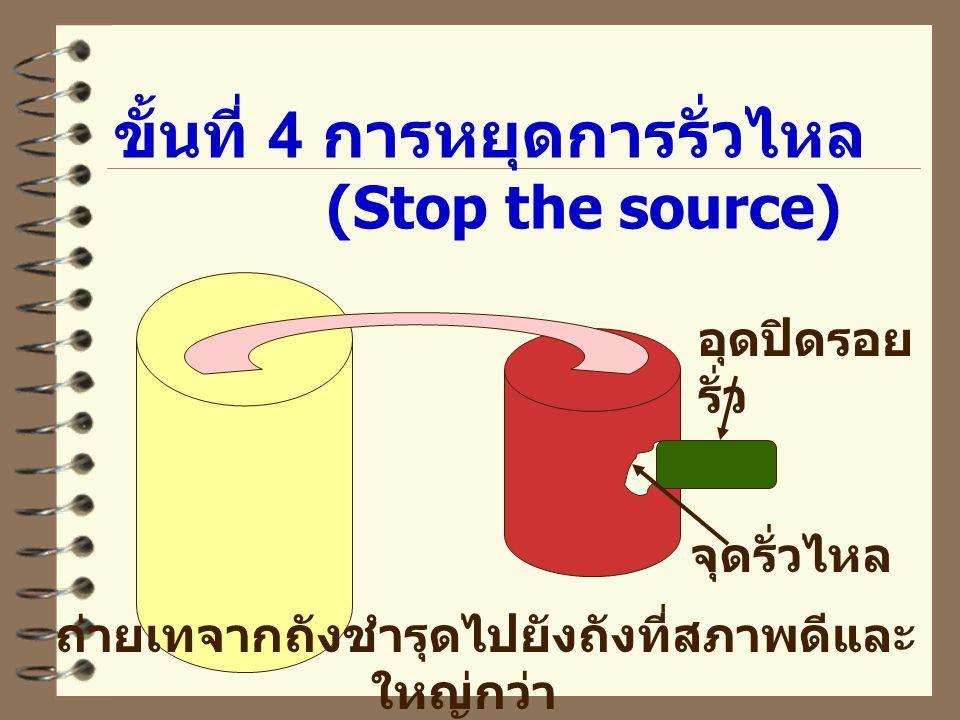 ขั้นที่ 4 การหยุดการรั่วไหล (Stop the source) จุดรั่วไหล อุดปิดรอย รั่ว ถ่ายเทจากถังชำรุดไปยังถังที่สภาพดีและ ใหญ่กว่า