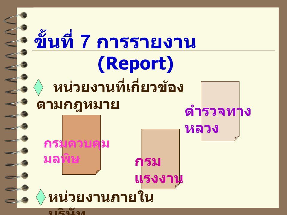 ขั้นที่ 7 การรายงาน (Report) หน่วยงานที่เกี่ยวข้อง ตามกฎหมาย กรมควบคุม มลพิษ กรม แรงงาน ตำรวจทาง หลวง หน่วยงานภายใน บริษัท