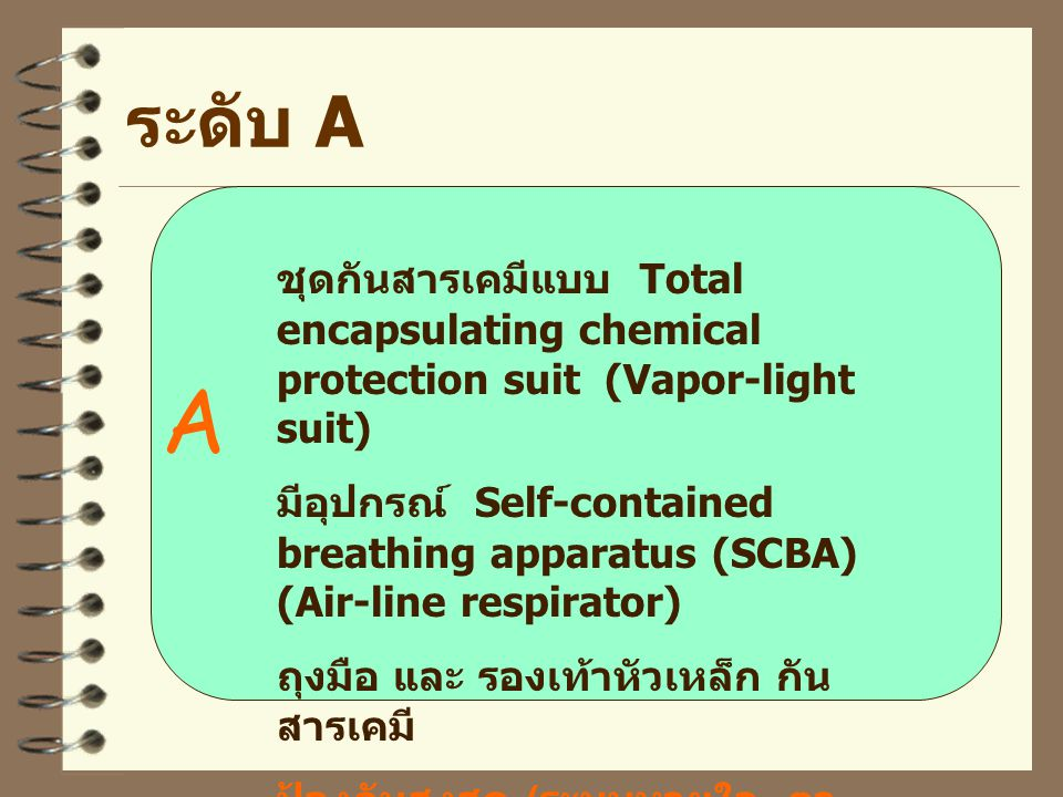B อุปกรณ์ เหมือน A ยกเว้นชุดกัน สารเคมี ใช้ splash garment ป้องกันระบบหายใจสูงกว่าระบบ อื่น ระดับ B