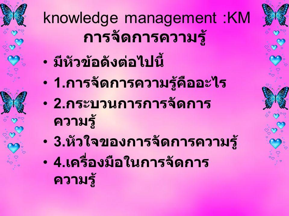 knowledge management :KM การจัดการความรู้ มีหัวข้อดังต่อไปนี้ 1.