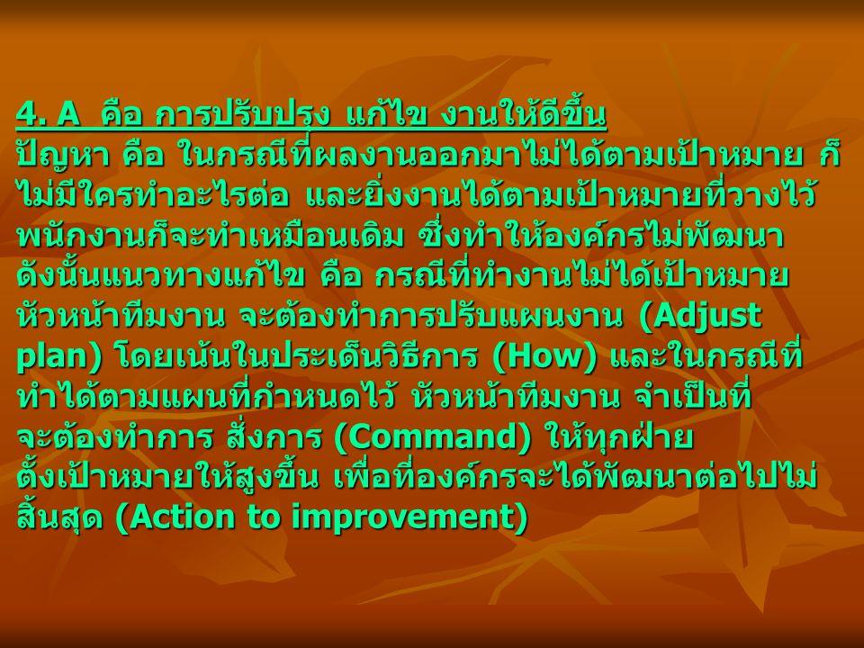 4. A คือ การปรับปรุง แก้ไข งานให้ดีขึ้น ปัญหา คือ ในกรณีที่ผลงานออกมาไม่ได้ตามเป้าหมาย ก็ ไม่มีใครทำอะไรต่อ และยิ่งงานได้ตามเป้าหมายที่วางไว้ พนักงานก