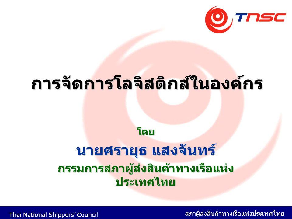 Thai National Shippers' Council สภาผู้ส่งสินค้าทางเรือแห่งประเทศไทย 1 การจัดการโลจิสติกส์ในองค์กร โดย นายศรายุธ แสงจันทร์ กรรมการสภาผู้ส่งสินค้าทางเรื