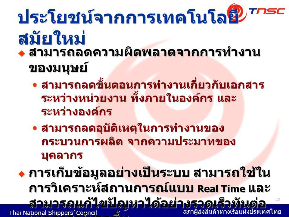 Thai National Shippers' Council สภาผู้ส่งสินค้าทางเรือแห่งประเทศไทย 20 ประโยชน์จากการเทคโนโลยี สมัยใหม่  สามารถลดความผิดพลาดจากการทำงาน ของมนุษย์ สาม