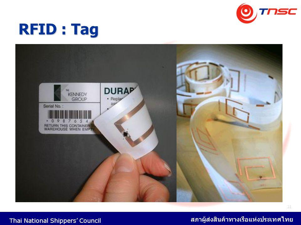 Thai National Shippers' Council สภาผู้ส่งสินค้าทางเรือแห่งประเทศไทย 31 RFID : Tag