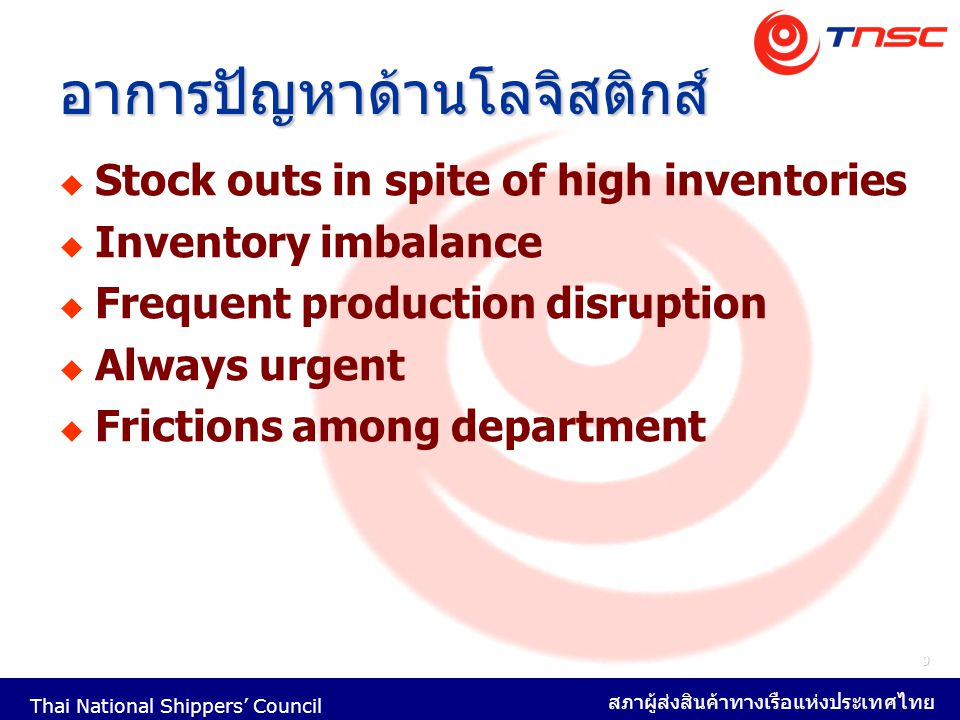 Thai National Shippers' Council สภาผู้ส่งสินค้าทางเรือแห่งประเทศไทย 40 Buy Full Service with One Transporter Cost reduction by -Reduced Administrative Activities -More Bargaining Power Destination Country's Inland Transportation Long Haul Domestics Inland Transportation Full service freight package.
