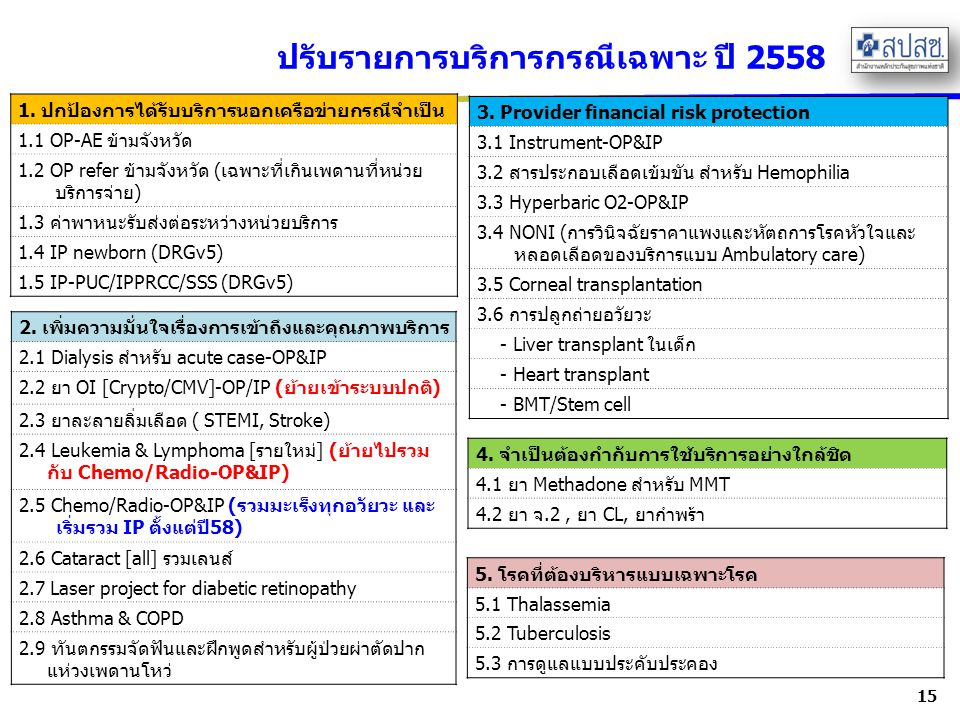 ปรับรายการบริการกรณีเฉพาะ ปี 2558 15 1.