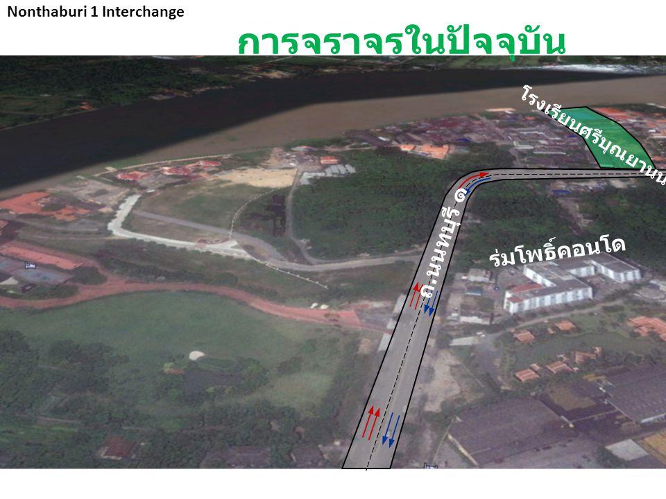 การจราจรในปัจจุบัน โรงเรียนศรีบุณยานนท์ Nonthaburi 1 Interchange ร่มโพธิ์คอนโด ถ. นนทบุรี ๑