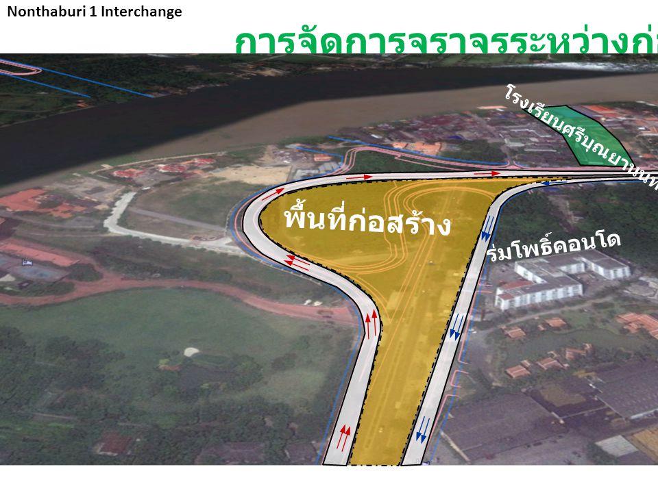 Nonthaburi 1 Interchange ร่มโพธิ์คอนโด พื้นที่ก่อสร้าง โรงเรียนศรีบุณยานนท์ การจัดการจราจรระหว่างก่อสร้าง