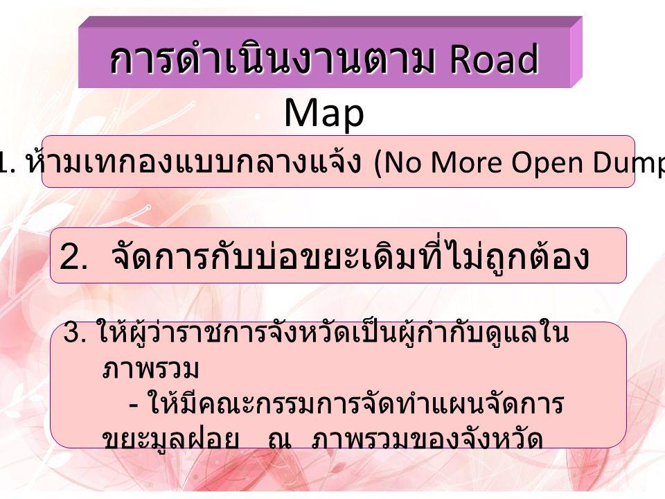 การดำเนินงานตาม Road Map 1.ห้ามเทกองแบบกลางแจ้ง (No More Open Dump) 2.