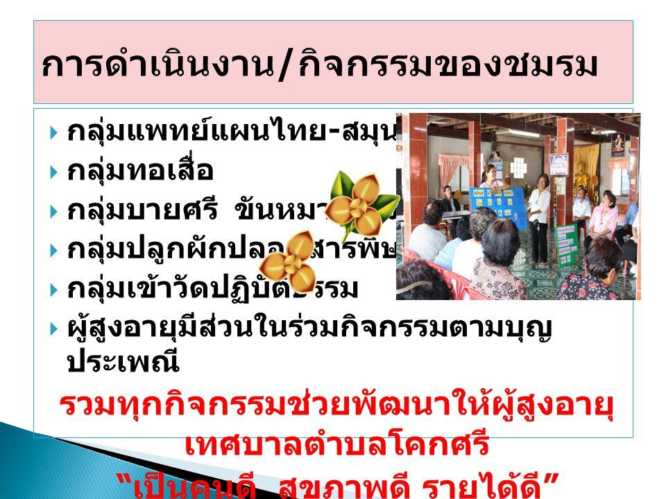  กลุ่มแพทย์แผนไทย - สมุนไพรดูแลสุขภาพ  กลุ่มทอเสื่อ  กลุ่มบายศรี ขันหมากเบ็ง  กลุ่มปลูกผักปลอดสารพิษ  กลุ่มเข้าวัดปฏิบัติธรรม  ผู้สูงอายุมีส่วนใ