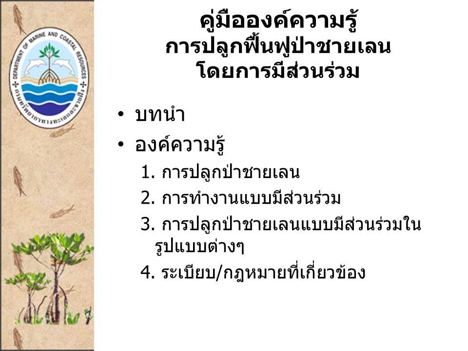 คู่มือองค์ความรู้ การปลูกฟื้นฟูป่าชายเลน โดยการมีส่วนร่วม บทนำ องค์ความรู้ 1.