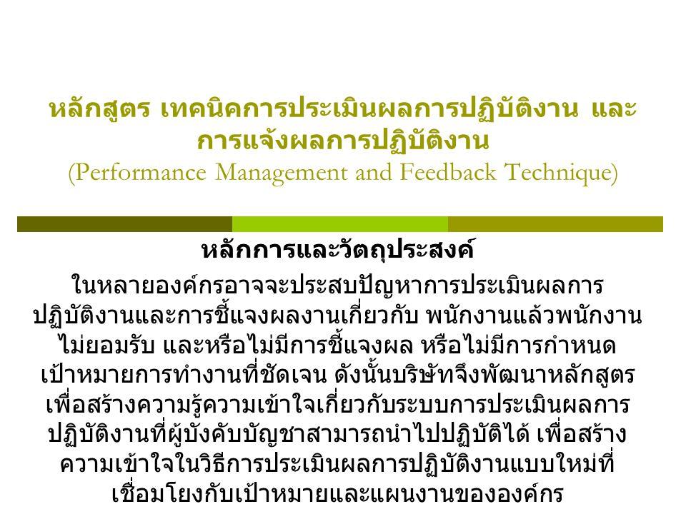 หลักสูตร เทคนิคการประเมินผลการปฏิบัติงาน และ การแจ้งผลการปฏิบัติงาน (Performance Management and Feedback Technique) หลักการและวัตถุประสงค์ ในหลายองค์กรอาจจะประสบปัญหาการประเมินผลการ ปฏิบัติงานและการชี้แจงผลงานเกี่ยวกับ พนักงานแล้วพนักงาน ไม่ยอมรับ และหรือไม่มีการชี้แจงผล หรือไม่มีการกำหนด เป้าหมายการทำงานที่ชัดเจน ดังนั้นบริษัทจึงพัฒนาหลักสูตร เพื่อสร้างความรู้ความเข้าใจเกี่ยวกับระบบการประเมินผลการ ปฏิบัติงานที่ผู้บังคับบัญชาสามารถนำไปปฏิบัติได้ เพื่อสร้าง ความเข้าใจในวิธีการประเมินผลการปฏิบัติงานแบบใหม่ที่ เชื่อมโยงกับเป้าหมายและแผนงานขององค์กร