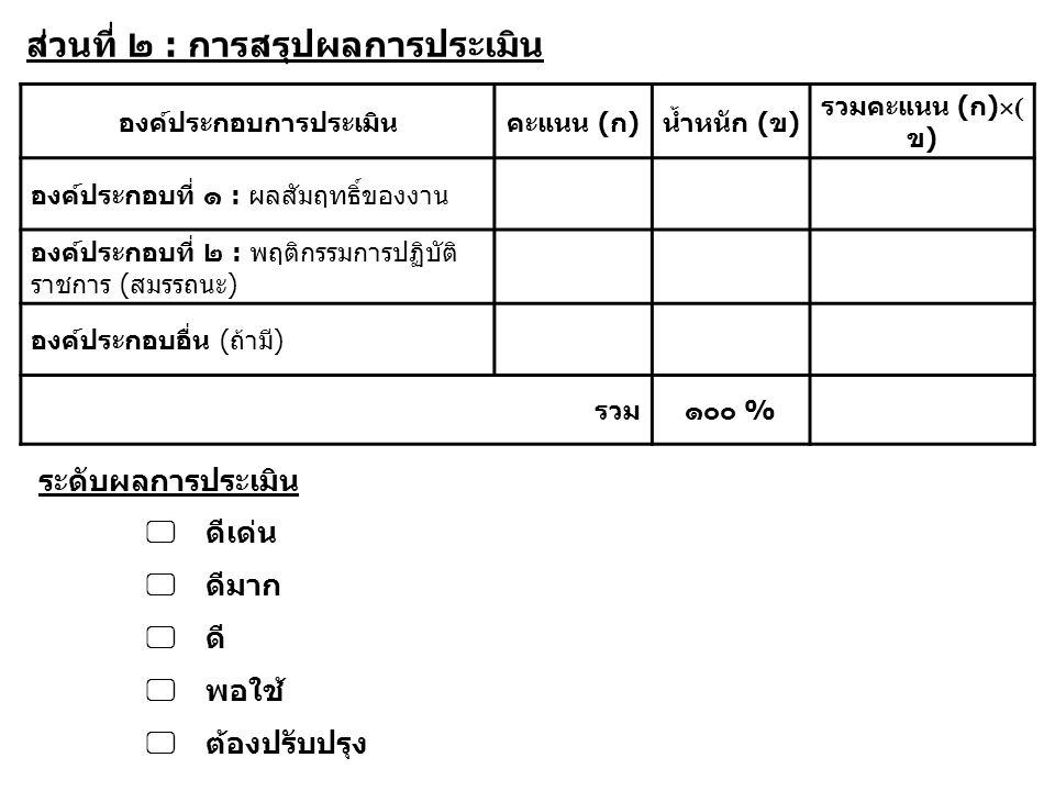 ส่วนที่ ๒ : การสรุปผลการประเมิน องค์ประกอบการประเมินคะแนน (ก)น้ำหนัก (ข) รวมคะแนน (ก)  ( ข) องค์ประกอบที่ ๑ : ผลสัมฤทธิ์ของงาน องค์ประกอบที่ ๒ : พฤติ