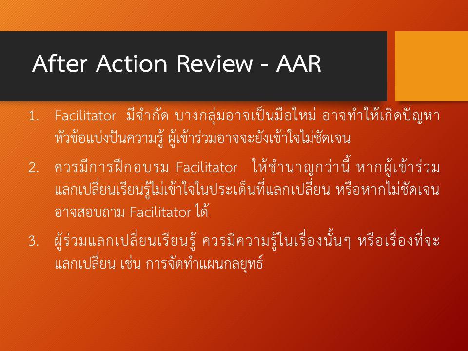 After Action Review - AAR 1. Facilitator มีจำกัด บางกลุ่มอาจเป็นมือใหม่ อาจทำให้เกิดปัญหา หัวข้อแบ่งปันความรู้ ผู้เข้าร่วมอาจจะยังเข้าใจไม่ชัดเจน 2. ค