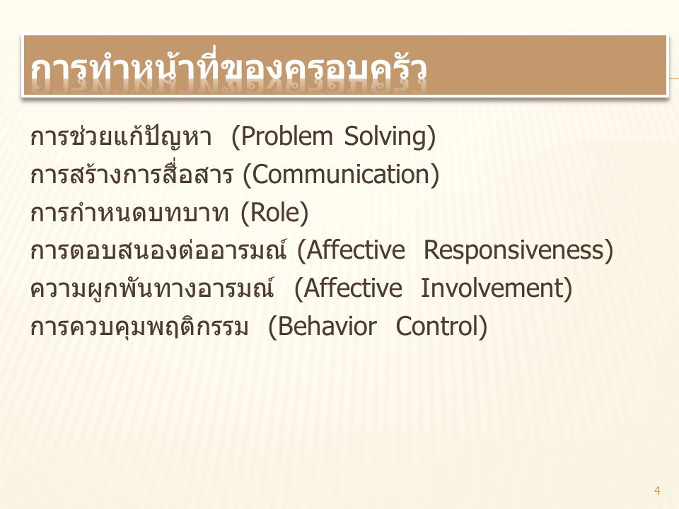 การช่วยแก้ปัญหา (Problem Solving) การสร้างการสื่อสาร (Communication) การกำหนดบทบาท (Role) การตอบสนองต่ออารมณ์ (Affective Responsiveness) ความผูกพันทาง