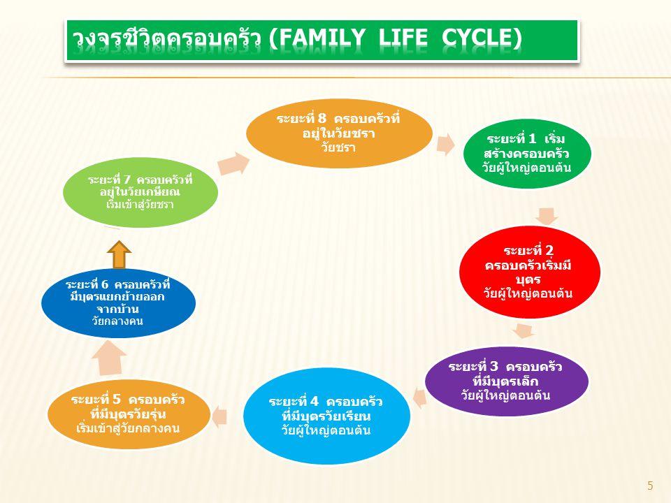ระยะที่ 8 ครอบครัวที่ อยู่ในวัยชรา วัยชรา ระยะที่ 1 เริ่ม สร้างครอบครัว วัยผู้ใหญ่ตอนต้น ระยะที่ 2 ครอบครัวเริ่มมี บุตร วัยผู้ใหญ่ตอนต้น ระยะที่ 3 ครอ