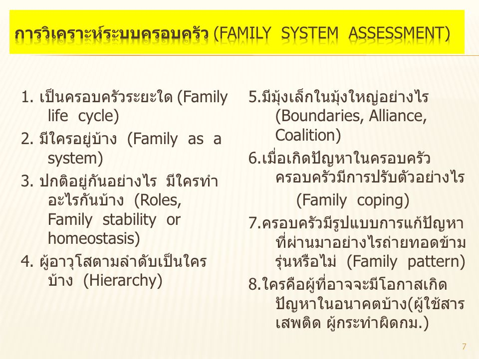 1. เป็นครอบครัวระยะใด (Family life cycle) 2. มีใครอยู่บ้าง (Family as a system) 3. ปกติอยู่กันอย่างไร มีใครทำ อะไรกันบ้าง (Roles, Family stability or