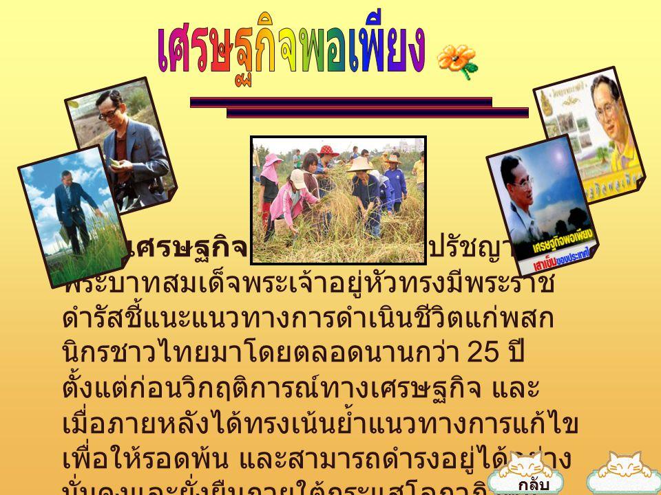""""""" เศรษฐกิจพอเพียง """" เป็นปรัชญาที่ พระบาทสมเด็จพระเจ้าอยู่หัวทรงมีพระราช ดำรัสชี้แนะแนวทางการดำเนินชีวิตแก่พสก นิกรชาวไทยมาโดยตลอดนานกว่า 25 ปี ตั้งแต่"""